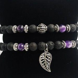 Genuine Amethyst & lava rock leaf bracelets set